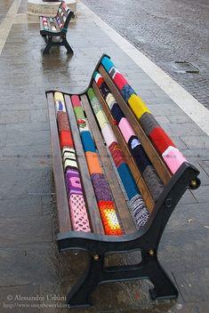 Yarnbombed Benches