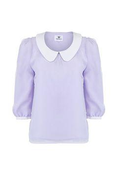 Overlay Mesh Light Purple Blouse [NCSHD0044] - $42.00 :