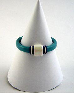 Regaliz Licorice Leather Bracelet  Aqua with by JoolsbyJulieQ