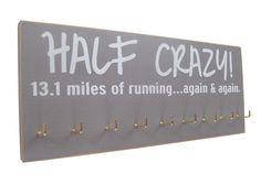 Half marathon medals display by runningonthewall on Etsy, $28.00 Fit, Idea, Craft, Stuff, Half Crazi, Half Marathons, Half Marathon Medal Display, Exercis, Marathon Display