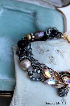 Gatsby Inspired Bracelet~ Vintage Rhinestone, Pearls, Gemstones and more~ http://www.simplymeart.etsy.com