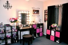 vaniti, dream, makeup collection, room idea, storage bins, closet, makeup room, storage ideas, black furniture
