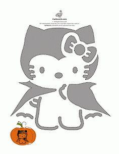 Hello Kitty carved jack o'lantern pumpkin stencil template