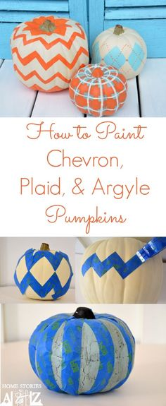 How to paint chevron, argyle, and plaid pumpkins. Step-by-step tutorial.
