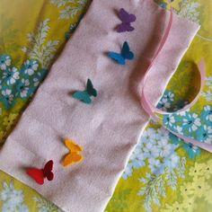 girls waldorf wool felt crayon holder - pink with rainbow butterflies