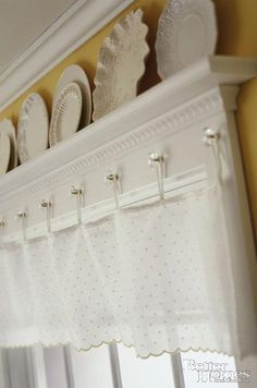 Curtain HAngers!! shelf at window AWESOME !!! great idea! for kitchen and living room!