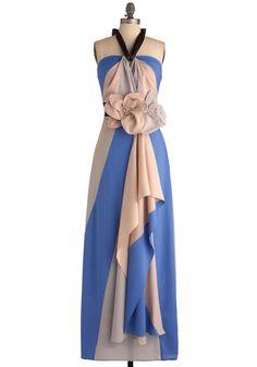 Blue beige dress