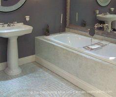 Classic, Ephermeral Blue and White Bath | The Decorating Diva, LLC