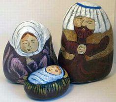 Painted rock nativity set