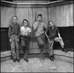 Photographer: Danny Lyon - Chicago. 1965. Uptown. Four youngsters.