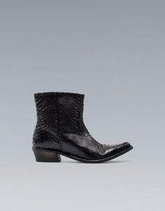 SNAKESKIN COWBOY ANKLE BOOT - Shoes - Woman - ZARA United States