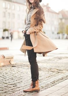 Camel day coat, grey button up top, black skinnies and cognac booties.