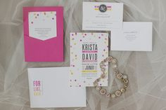 Invitation suite by @Alaina Marie Marie Cherup |  bright and colorful pink, orange, yellow and gray weddding at Burlington Golf and Country Club | Planning and Design by www.kjandco.ca | Photography by Elizabeth In Love