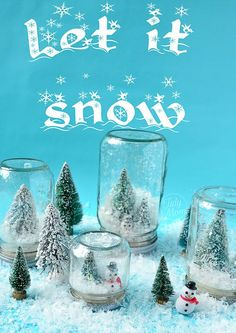 waterless snow globes using mason jars...have to make these!!! also make mini bottle snowglobe charms with mini bottles: http://www.ecrafty.com/c-517-mini-glass-bottles.aspx #ecrafty