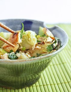 Grilled chicken and baby bok choy salad w/ sesame ginger dressing - served warm or cold this is the perfect summer salad!