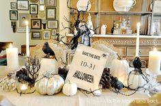 Using white, black & silver for a different yet elegantly eerie Halloween table or 'roomscape' decor.