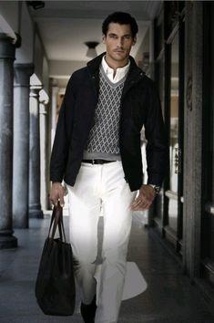 men styles, david gandy, white outfits, black white, white pants, men fashion, men suits, men clothes, style blog