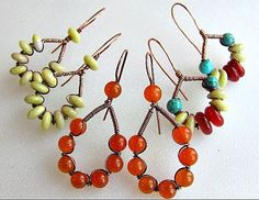 bead earrings, craft, tutorials, wire earrings, earring tutori