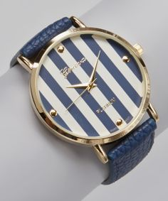 Navy Blue Stripe Watch.