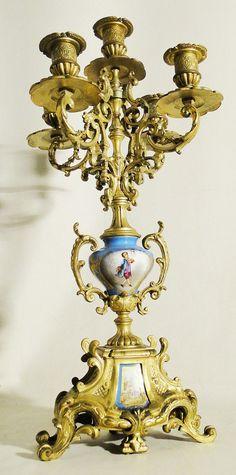 Candelabro porcelana de Sevres y bronce,Francia