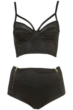 quilted satin harness bralet and knickers