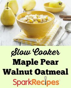 This one tastes like fall in a bowl! If you don't have maple extract, just use maple syrup as your sweetener to add that maple flavor. The maple really makes you think of the autumn leaves, the pear adds a little tart and a little sweet, and the walnuts add just the right amount of crunch. via @SparkPeople