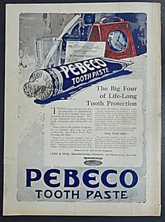 Lehn & Fink Manufacturing Chemists for Pebeco Tooth Paste Ad