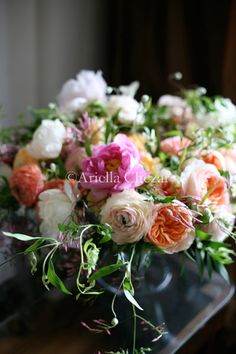 Peach & pink garden roses