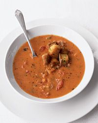 Fire-Roasted Tomato Bisque - Just made this. So good!! I added a little mozzarella and a lot of pepper - and I served it with a grilled cheese sandwich!