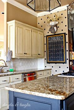 A Surprise Drop-In Visit on One of My Favorite Bloggers dimples, craft, polka dots, entir hous, polka dot kitchen, black white, houseroom idea, chalkboard, decor idea