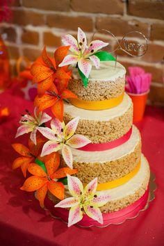 How fun is this beautiful Rice Krispy treat wedding cake?!?