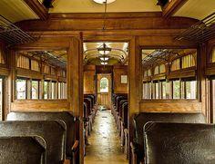 Vintage train interior.  Classy old leather and wood. Halton Railway Museum.