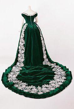 Court Dress in Green Velvet