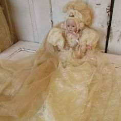 Ornate doll figure draped in antique netting by AnitaSperoDesign, $260.00