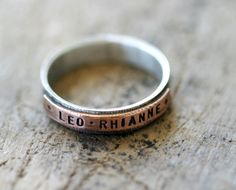 Copper and sterling silver personalized mixed by monkeysalwayslook, $72.00