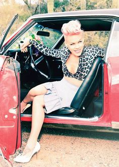 Ah, three of my favorite things in one picture: P!nk, short pink hair (in a pompadour, no less!) and leopard print. Stay awesome, P!nk!