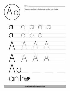 Free Worksheet Activities for the Letter A