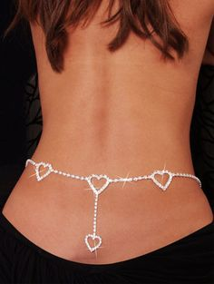 Waist chain. silver-jewelry with diamond hearts