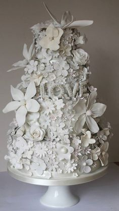 Explosion of White on White Flowers Wedding Cake