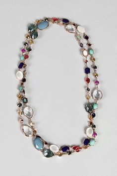great mulitcolored stone necklace, to wear in one long strand or wrapped