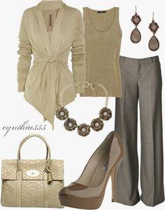 Work Outfits | Cream Dream Rick Owens cardigan, pants, L.K. Bennett shoes, Gucci tank top, Mulberry handbag by cynthia335 fashion, cloth, style, dream, offic, casual outfits, work outfits, business casual, work attire