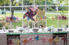 Colorful Pinwheel party dessert table!  See more party planning ideas at CatchMyParty.com!