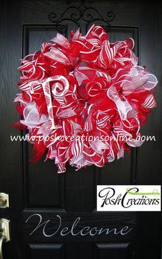 Christmas Wreath Christmas Decor Monogram by poshcreationsKY, $75.00