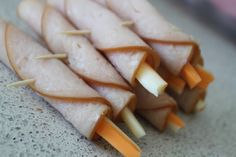 If you are trying to cut back on the gluten and are struggling for snack and lunch ideas - my kids loved these roll ups. Nitrate free turkey with a thin slice of cheese.
