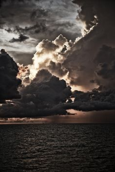 a great heavy sky over the water
