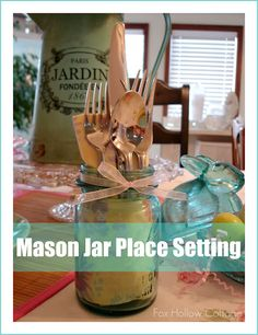 cutlery in a mason jar you could add other treats , condiments, dodads