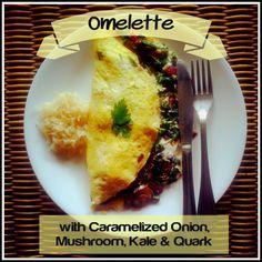 Caramelized Onion, Mushroom, Kale and Quark Omelette - The Urban Ecolife  #omelette #omelet #quark #kale #healthy #breakfast #paleo #primal