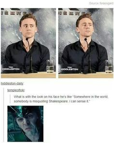Tom Hiddleston and his love for the bard. One of the main reasons I love him so :)