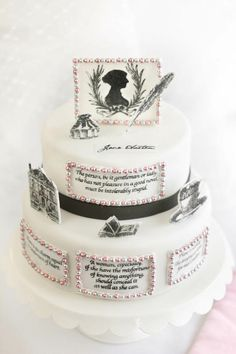A Jane Austen cake, perfect for the upcoming 200th anniversary of PRIDE AND PREJUDICE