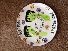 Halloween footprint Frankenstein plate